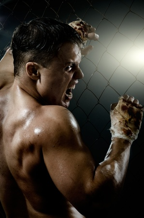potent: vertical photo  muscular young  guy street-fighter,  aggression frightening  yell , hard light Stock Photo