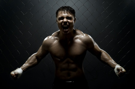 intrepid: horizontal photo  muscular young  guy street-fighter,  aggression frightening  yell , hard light