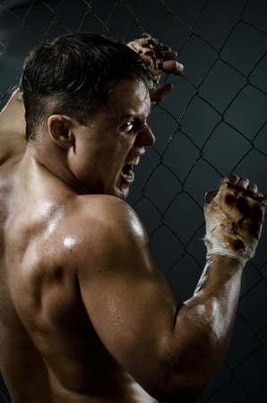 plucky: vertical photo  muscular young  guy street-fighter,  aggression frightening  yell , hard light Stock Photo