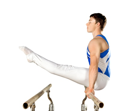 boy gymnast: The sportsman the guy, carries out difficult exercise, sports gymnastics, on white background, isolated