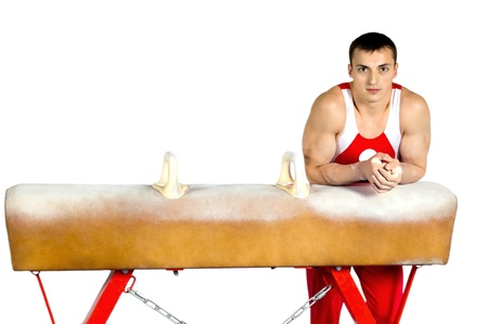 boy gymnast: The sportsman the guy with pommel-horse, sports gymnastics, on white background, isolated