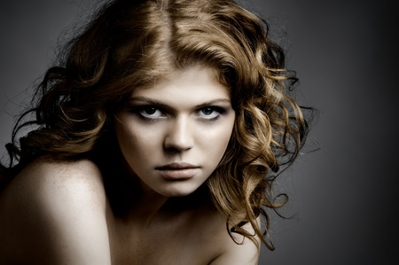 the very  pretty red-haired young woman,  sensual look , horizontal portrait Stock Photo - 12466097