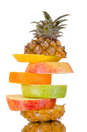 citrous: still life multifruit cuts ( pineapple; apple and orange), on white background, isolated