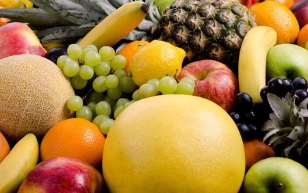 citrous: still life of big  heap multi-coloured fruits, square background
