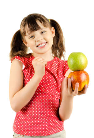 beauty little girl hold two big apple and smile, on white background, isolated Stock Photo - 12773929