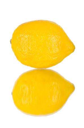 citrous: still life single yellow lemon; close up, on white background, isolated