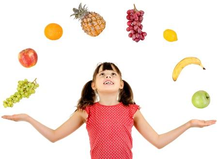 citrous:  joyful beautiful little girl ,  with multi fruit set, on white background, isolated