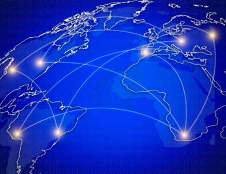 connecting: the blue map of the world , concept picture Global telecommunications  network