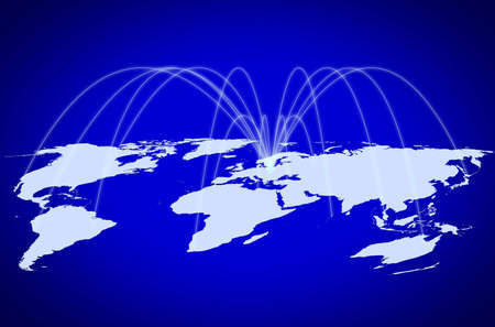 world wide: the blue map of the world , concept picture Global telecommunications  network or air travelling