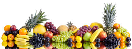 citrous: still life of big  heap multi-coloured fruits , on white background, isolated  Panorama of two photography Stock Photo