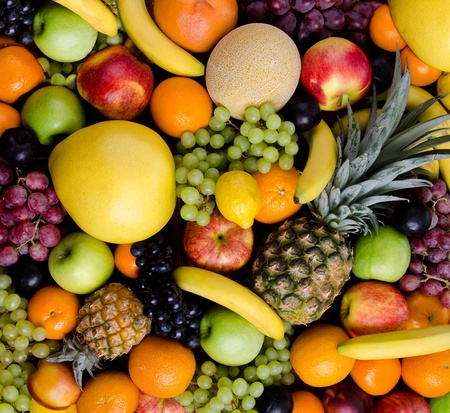 still life of big  heap multi-coloured fruits, square background Stock Photo - 12773965
