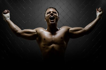 vertrical photo  muscular young  guy street-fighter,  triumphant cries  yell , hard light Stock Photo - 12773724