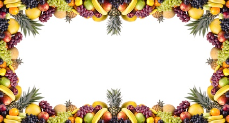 bacca: still life of big  heap multi-coloured fruits , on white background, isolated. frame