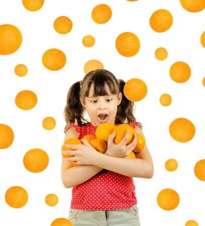 beauty little girl hold many orange and amazed, on white background, isolated photo
