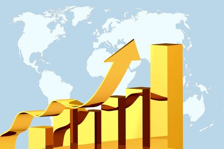 population growth: concept  illustration diagram growth on global world map background