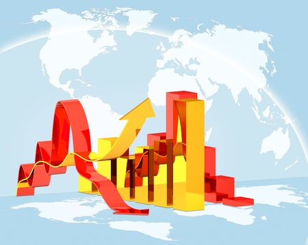 increment: concept  illustration diagram growth or downfall on global world map background, concept  world economics crisis