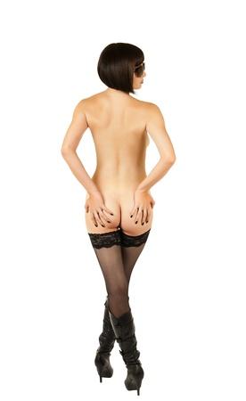naked woman  white background: sensuality  beautiful sexy girl, on white background,  isolated Stock Photo