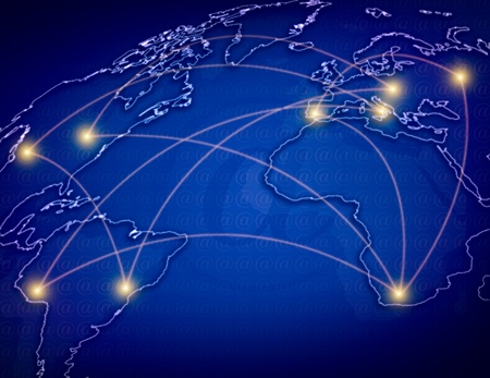 global links: the blue map of the world , concept picture Global telecommunications  network