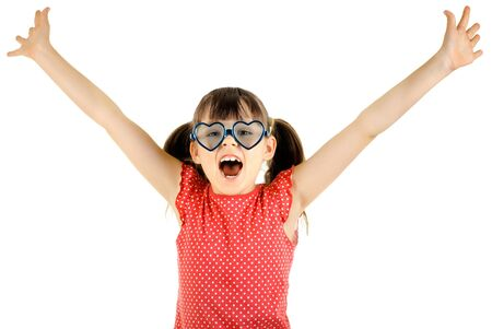 joyful beautiful little girl ,  merry  cry, on white background, isolated, hand up Stock Photo - 12921677
