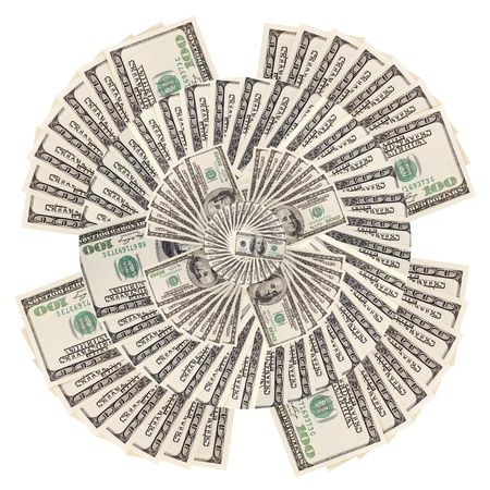encash: petals of very many  mass currency note  dollars, on white background, isolated