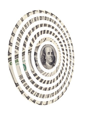 encash: target of very many  mass currency note  dollars, on white background, isolated
