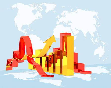 concept  illustration diagram growth or downfall on global world map background, concept  world economics crisis illustration