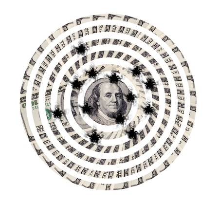 moneyed: shoot target of very many  mass currency note  dollars, on white background, isolated Stock Photo