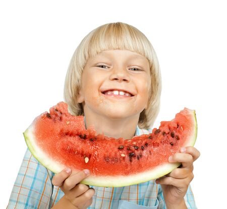 little boy hold watermelon, eating and smile, on white background, isolated Stock Photo - 13002100