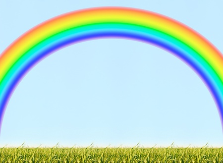 beautiful background of green lawn and blue sky and multicoloured rainbow photo