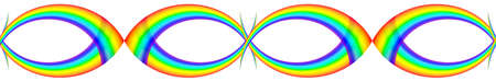 beautiful  seamless figure of multicoloured rainbow, on white background, isolated