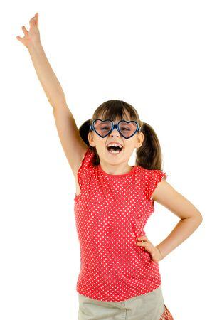 joyful beautiful little girl ,  merry  cry, on white background, isolated, hand up Stock Photo - 13589933