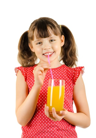 citrous: happy beauty little girl, hold glass with multifruit juice and smile, on white background, isolated Stock Photo