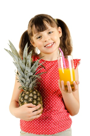 citrous: happy beauty little girl, hold glass with  pineapple and  juice,  smile, on white background, isolated