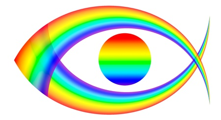 beautiful  figure eye of multicoloured rainbow, on white background, isolated Stock Photo - 13594155