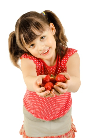 happy beauty little girl, hold  strawberries and smile, on white background, isolated photo