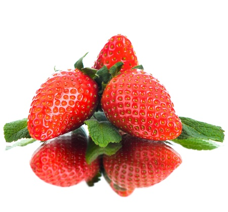 group of the big red  beauty strawberry, on white background, isolated Stock Photo - 13594153
