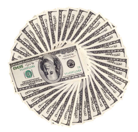 encash: circle of very many  mass currency note  dollars, on white background, isolated