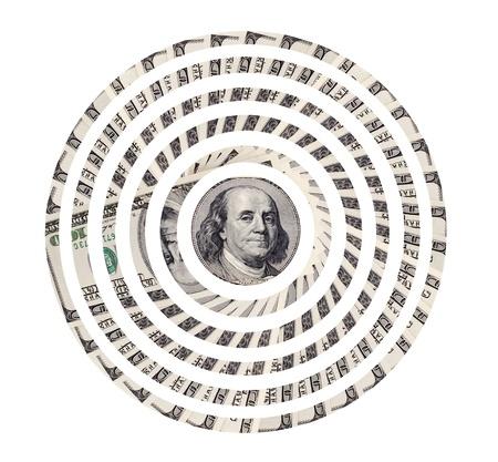 rueda de la fortuna: objetivo de dólares de comunicación muchas notas de divisas, en el fondo blanco, aislados Foto de archivo