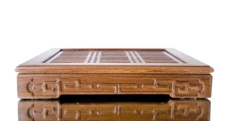 trivet: the wooden trivet for tea ceremony, on white background, isolated Stock Photo