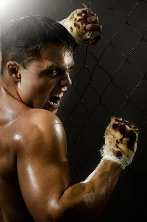 vertical photo  muscular young  guy street-fighter,  aggression frightening  yell , hard light Stock Photo - 14549699