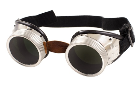 eye protectors: photo blak  welded protective spectacles on white background isolated, close up