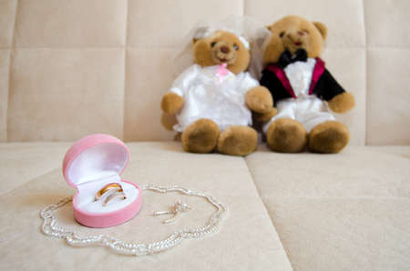 wedding accessories: group object of wedding jewellery accessory, church rings and necklace