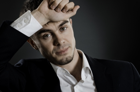 deplorable: closeup horizontal portrait  the  beautiful  businessman in  costume without necktie