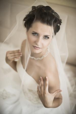 fiancee: vertical wedding portrait beautifull  fiancee in white dress, soft light