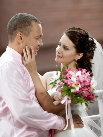 vertical portrait happy newly married couple , romance embrace outdoor Stock Photo - 14627936