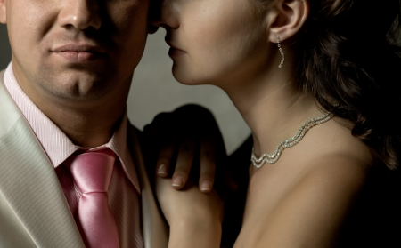 two face newly married couple, together and very close up Stock Photo - 14627946