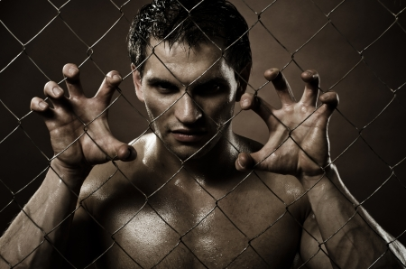 horizontal closeup portrait  felon guy ,  out of netting   steel fence Stock Photo - 14747682