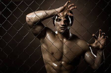 horizontal closeup portrait  felon guy ,  out of netting   steel fence Stock Photo - 14747632