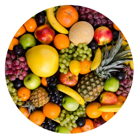 still life of big  heap multi-coloured fruits,  circle, on white background, isolated photo