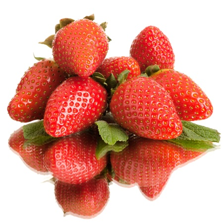bacca: group of the big red  beauty strawberry, on white background, isolated Stock Photo